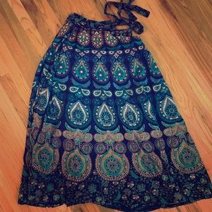 Indian Cotton Blue Patterned Wrap Skirt